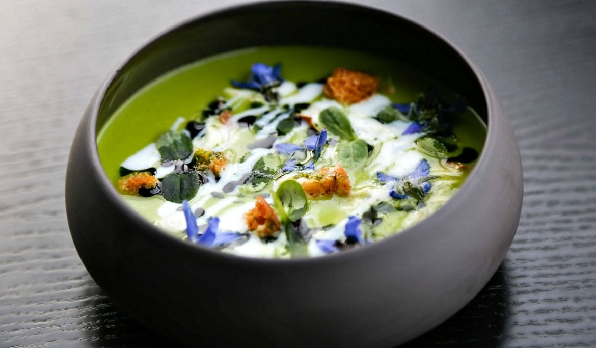 Chilled cucumber soup, smoked mackerel, buttermilk & borage rhubarb